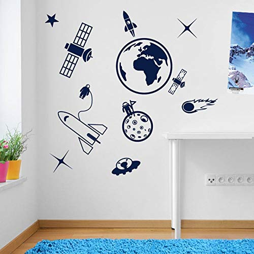 (BYRON HOYLE Earth Space Ship Rocket Satellite Wall Window Stickers Decals Kids Decor A137)