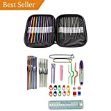 AMZDONET Crochet Set All-in-One, Crochet Hooks Aluminum, Full Size 0.6 to 6.5 mm, Large-Eye Blunt Needles Yarn Knitting, Crochet Set with Case, Best Gift!