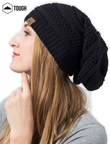 Slouchy Cable Knit Beanie by Tough Headwear - Chunky, - Import It All