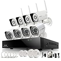 Zmodo 8CH NVR 4 Wireless + 4 sPoE Network 720P HD IP Security Camera System 1TB Smartphone View