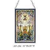 HF-206 Rural Vintage Tiffany Style Stained Church Art Glass Decorative Luxury Rectangle Window Hanging Glass Panel Suncatcher, 32''H20''W