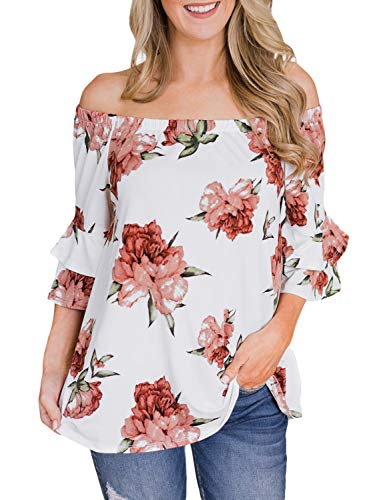Top Sleeve Tiered (LookbookStore Women's Summer Off The Shoulder White Floral Print Blouse 3/4 Tiered Sleeves Tops Shirt Size S 4 6)
