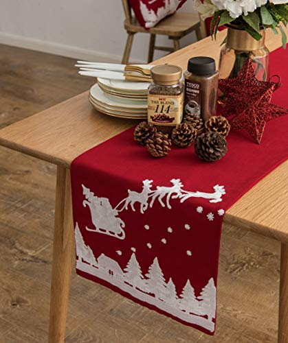 Cassiel Home Merry Christmas Table Runner 108 Embroidery Christmas Runner for Table Red Reindeer and Snow Table Runner 13×108 in Winter for Kitchen Dining Party
