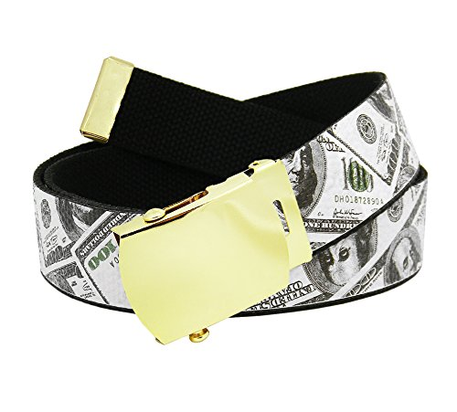 Men's Gold Slider Belt Buckle with Printed Canvas Web Belt Large Cash Money Print