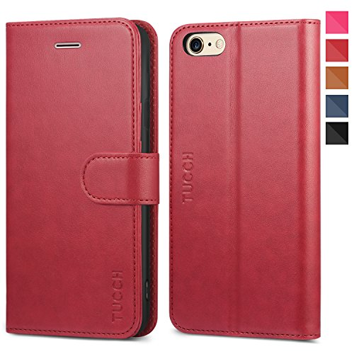 TUCCH iPhone 6s Wallet Case, iPhone 6 Case, Premium PU Leather Flip Folio Case with Card Slot, Stand Holder and Magnetic Closure [TPU Shockproof Interior Protective Case] for iPhone 6s / 6, Red