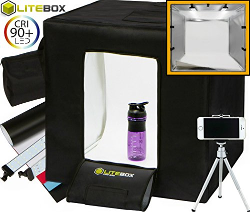 LITEBOX Pro-240: Large 24'' x 24'' LED Photo Studio Lighting Kit in a Box - 4 Seamless PVC Backdrops, Diffuser Panel (for Shiny Surfaces), Camera Tripod, & Travel Bag all included! by LiteBox