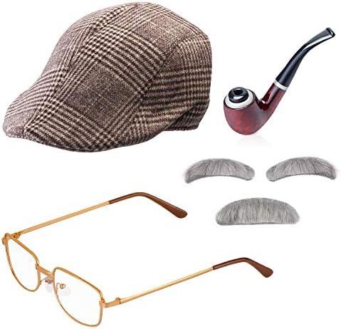 Beelittle Old Man Costume Grandpa Accessories Men Beret Hat Glasses Moustache Eyebrows Set