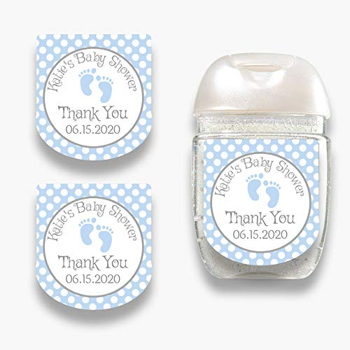 Set of 30 Personalized Blue Baby Feet Hand Sanitizer Labels - Customized Stickers for Baby Shower Favors - Mini Sanitizer Labels - Labels ONLY (HSL104)