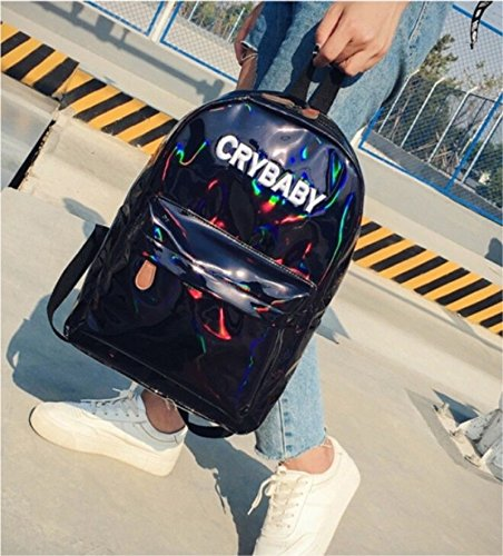 Bag Backpack Fancy XY Backpack Women's Surface Holographic Black Leather PU Waterproof Mirror School Reflective Rucksack PVC Fashion Waterproof Student WYZZndqr