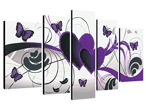 Wieco Art - Purple Love Butterfly 5 Panels Modern 100% Hand Painted Stretched and Framed Abstract Romance Artwork Oil Paintings on Canvas Wall Art Ready to Hang for Home Decor 5pcs/set