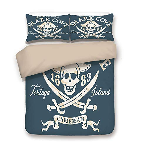 et,Back of Khaki,Pirate,Shark Cove Tortuga Island Caribbean Waters Retro Jolly Roger,Slate Blue White Light Mustard,Decorative 3 Pcs Bedding Set by 2 Pillow Shams,Full ()