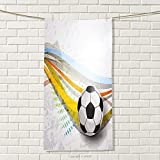smallbeefly Teen Room Decor Sports Towel Soccer Background with Football Colorful Lines Sports Game Digital Display Absorbent Towel Multicolor Size: W 35.5'' x L 12''