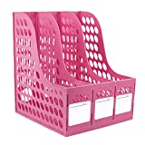 Bao Core Georgie Office School Detachable Composable 3 Compartment Magazine and Literature File Plastic Holder Pink