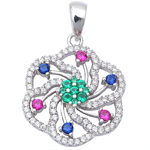 Multi Gemstone Pendant (Gorgeous Fine Simulated Multi Gemstones .925 Sterling Silver)