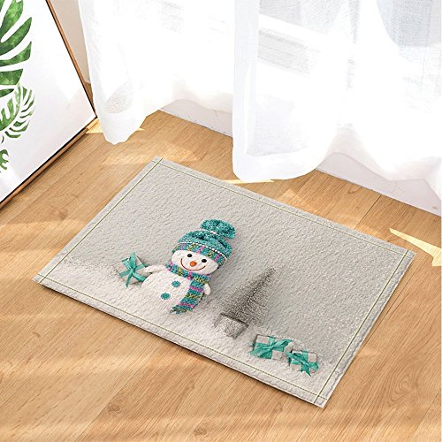 Retro New Year Bath Curtain Happy Snowman with Christmas Holiday Gift Boxes in Snowflakes Bath Rugs Non-Slip Doormat Floor Entryways Indoor Front Door Mat Kids Bath Mat 15.7x23.6in