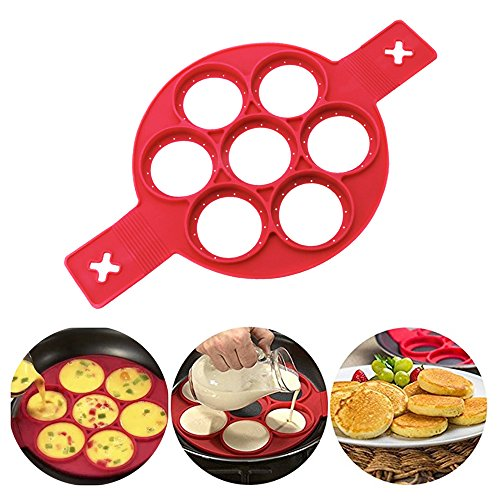 Flip Cooker Pancakes Mold - New Upgrade Silicone Pancake Molds 7 Circles Reusable Non Stick Egg Mold Ring pancake Maker for Kitchen - 1 Pack