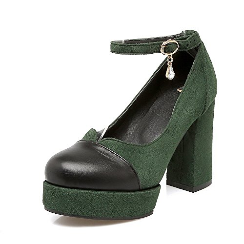 Odomolor Women's Round-Toe High-Heels Frosted Solid Buckle Pumps-Shoes, Green, 42