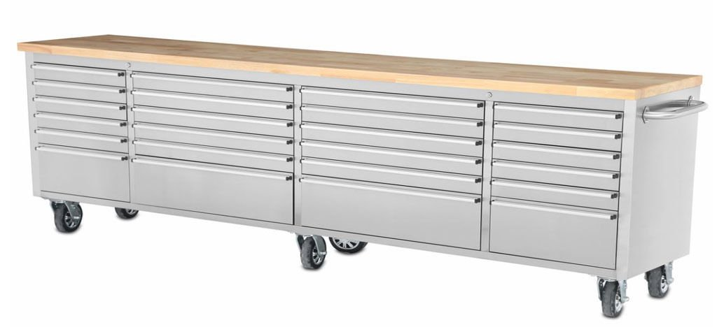 Mobil Tool Chest Workbench, Stainless Steel Cart, 96 Inch L, 24 Lined Drawers, Wood Working Top, Six Caster Wheels, Hyxion Brand