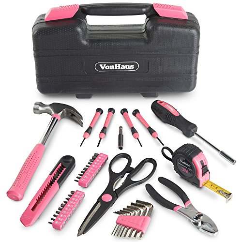 VonHaus Pink General Tool Set 39 Piece - Home Hand Tools Kit with Plastic Toolbox Storage Case (Tool Set Measuring)