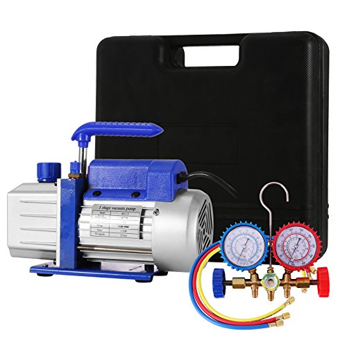 Bestauto Vacuum Pump 4CFM 1/4HP Air Vacuum Pump HVAC A/C Air Refrigerant Rotary Vane Vacuum Pump Single Stage 1 Valve AC Manifold Gauge Set (4CFM 1-Stage)