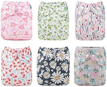 Alva Baby - 6 Pañales de tela con 12 absorbentes reutilizables, lavables a máquina 6DM15. Talla:All in one: Amazon.es: Bebé