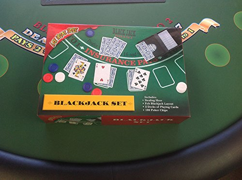 Blackjack Set Casino Style Includes: Felt Layout-Shoe-Cards and Chips -