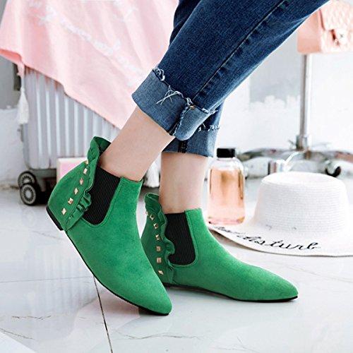 YE Damen Flache Chelsea Boots Ankle Boots Stiefeletten mit Nieten Bequem  Modern Schuhe Grün 168072bf28
