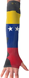 Sports Arm Sleeves Venezuela Flag Map UV Sun Protection Arm Sleeves with Thumb Holes Cooling Arm