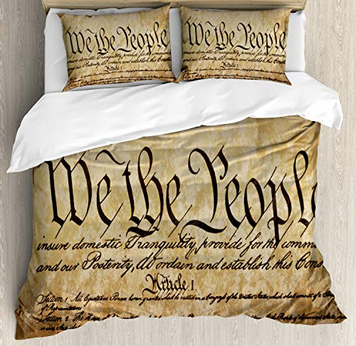- Ambesonne United States Duvet Cover Set, Vintage Constitution Text of America National Glory 4th of July Image, Decorative 3 Piece Bedding Set with 2 Pillow Shams, Queen Size, Pale Brown