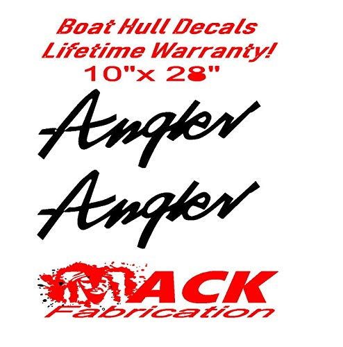 Marine Grade and Your Choice of Color. Decals & Bumper Stickers CELYCASY Pair of 10x28 Angler Boat Hull Vinyl Decals