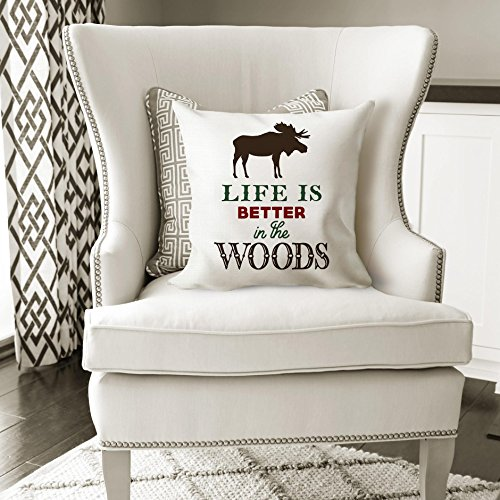 Cabin Decor Moose Pillow Cover // Life is Better in The Woods Throw Pillow // Lodge Theme Outdoors by Joyful Moose (Image #1)