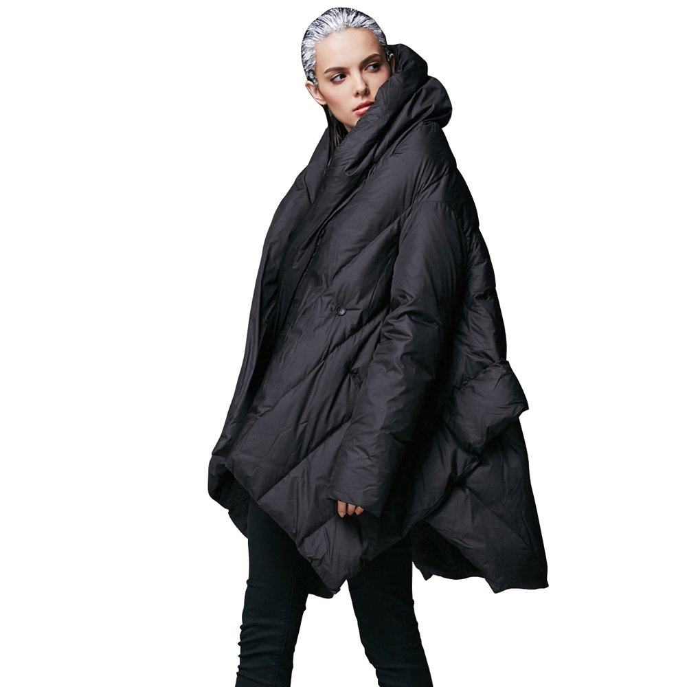 YVYVLOLO Women's Winter Jacket Cloak Loose Parka Warm Coat(FM1618-Black-M)