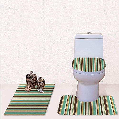 3 Pcs Soft Bathroom Rug Set Includes Bath Mat, Contour Rug ,Lid Cover,Funk Art Nostalgic Lash Strokes with Earthen Tones Blow Fashion Graphic with Brown Teal,decorate bathroom,entrance door,kitchen