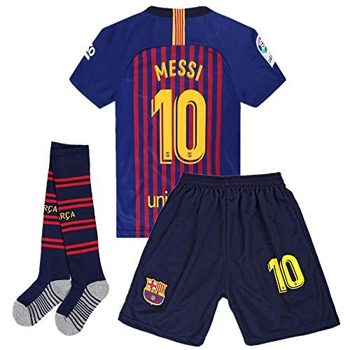 (Zawhz Barcelona 2018-2019 Home Kids/Youth Messi #10 Soccer Jersey & Shorts & Socks Color Red/Blue 5-6Years Size)