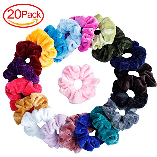 Mandydov 20 Pcs Hair Scrunchies Velvet Elastic Hair Bands Scrunchy Hair Ties Ropes Scrunchie for Women or Girls Hair Accessories - 20 Assorted Colors Scrunchies. ()