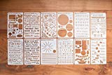 BULLETstencils Starter Set - Featuring 12 Journal Stencils: Includes Word Stencils, Circle Stencils, Drawing Stencils, Icons, Charts, Shapes, & Much More!