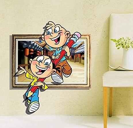 Amazon.com: 3D Friendship Pencil Wall Decals Baby Kids Room Cartoon ...