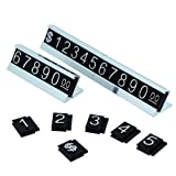 Price Display Counter Stand Label Tag, Adjustable, Number and Base (Silver)