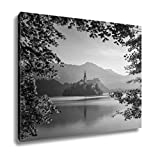 Ashley Canvas Little Island With Catholic Church In Bled Lake Slovenia At Sunrise, Wall Art Home Decor, Ready to Hang, Black/White, 16x20, AG5833708
