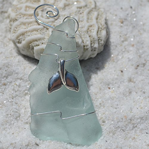 (DejaVu Designs Custom Handmade Genuine Sea Foam Sea Glass Ornament with a Silver Whale's Tail Charm)