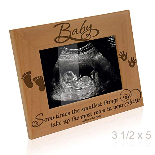 Kate Posh Baby Engraved Wood Picture Frame - Sometimes The Smallest Things take up The Most Room in Your Heart - Winnie The Pooh Sonogram Picture Frame, New Mom, New Dad (3 1/2 x 5 - Baby)