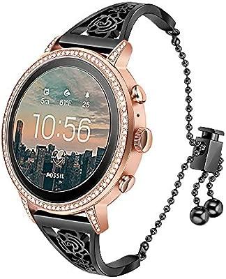 TRUMiRR para Fossil Gen 4 Q Venture HR Bandas de Mujer, 18mm Banda de Reloj Mujer Joya Brazalete Floral Hueco Pulsera de Acero Inoxidable de Oro Rosa ...