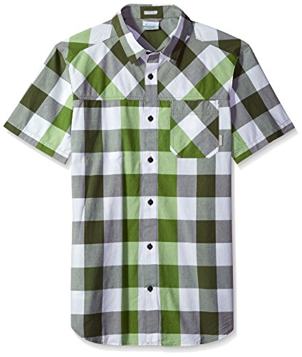 Columbia Men's Thompson Hill Yarn Dye Short Sleeve Shirt, Mosstone Large Check, X-Large