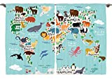 Ambesonne Girls Boys Baby Room Classroom Decor Collection, Educational World Map Africa Camel America Lama Allegator Ocean, Window Treatments for Kids Bedroom Curtain 2 Panels Set, 108X84 Inches