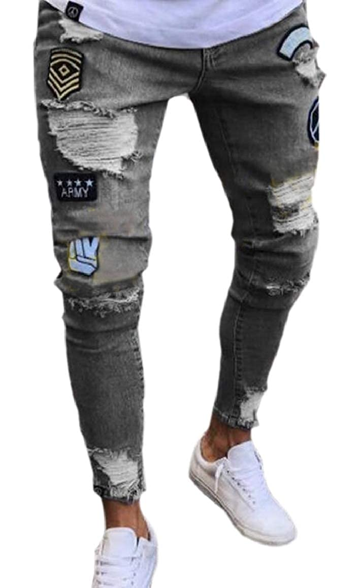 HTOOHTOOH Mens Destroyed Moto Destroyed Ripped Hole Skinny Fit Cotton Linen Washed Slim Distressed Cargo Jeans