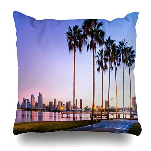 Ahawoso Throw Pillow Cover Square 16x16 Inches San Blue Diego Sunrise On Coronado Island Beach Parks California Skyline Downtown Scenery Cushion Case Home Decor Pillowcase