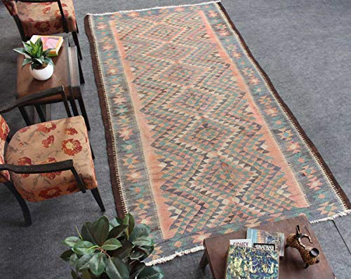 HeSamCrafts Hand Knotted Vintage Pink Green Wool Area Rug (4'8