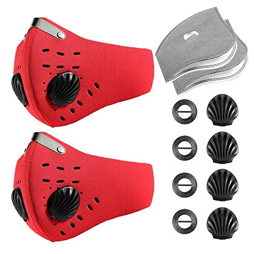 Krisvie Dustproof Masks Activated Carbon Dust Mask with Filter Filtration Cotton Sheet and Valves for Exhaust Gas, Anti Pollen Allergy, PM2.5 for Running Cycling Outdoor Activities (Red 2Pack)