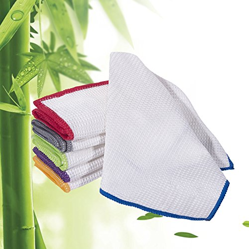 100% Bamboo Dish Cloths Cleaning Cloth Kitchen Towels and Dust Cloths Sets Super Absorbent Soft Durable and Eco-friendly Cleaning Rags 12 x 12 inch 6 (Swedish Rag)