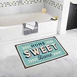 InterestPrint Funny Vintage Metal Sign Home Sweet Home House Decor Non Slip Bath Rug Mat Absorbent Bathroom Floor Mat Doormat Large Size 20 x 32 Inches